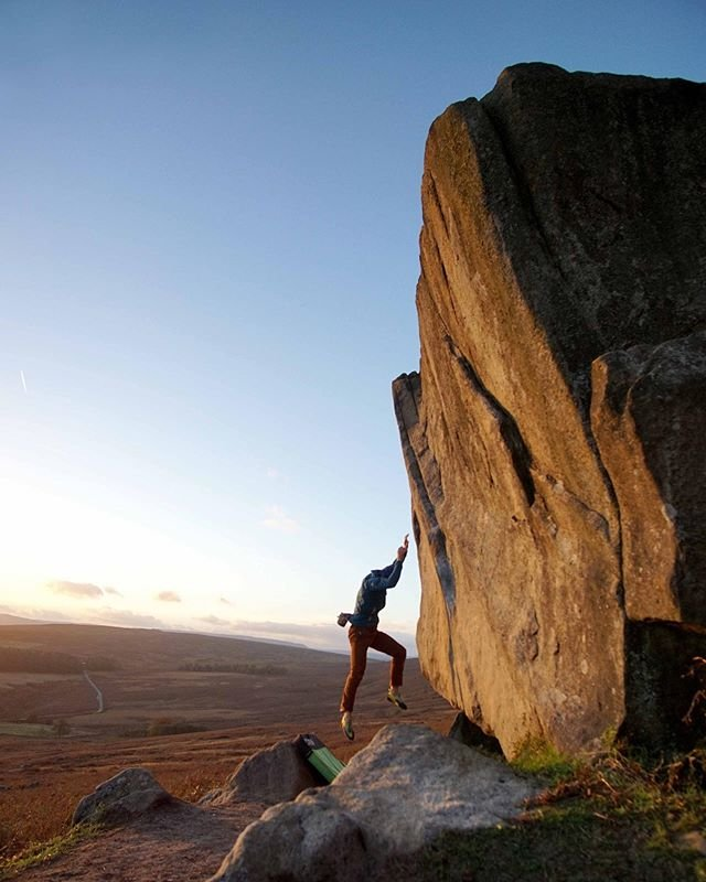 Stay tuned for Monday's episode of Climbing Guide to Galaxy. This time - Peak District 📸 @simona.lenc  #engineeredforclimbing #bouldering #ocun #thinkvertical #CGTG